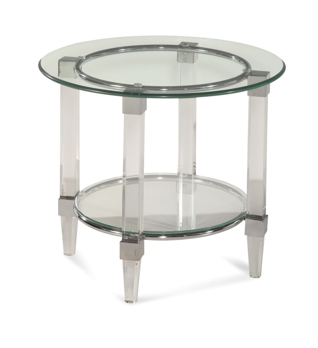 Cristal Round End Table Acrylic Amp Chrome 2929 220ec