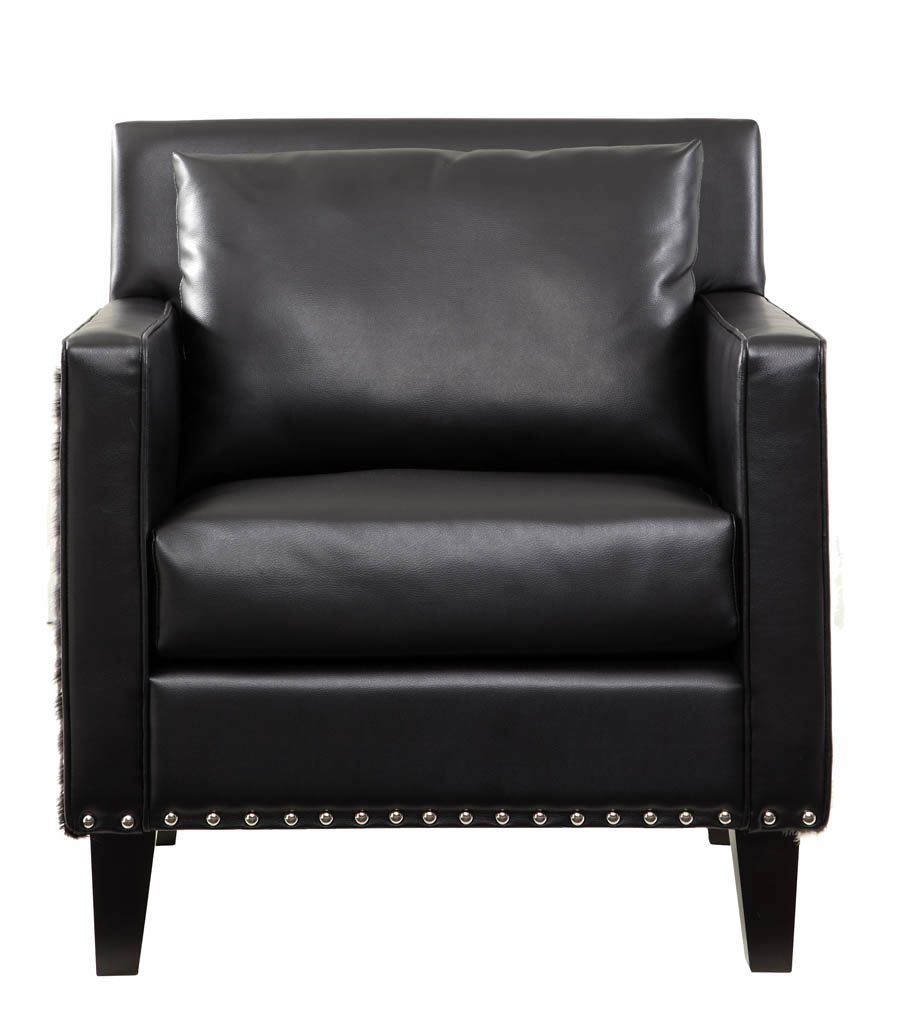 Dallas chair black leather real cowhide lc21451bl for Black leather kitchen chairs