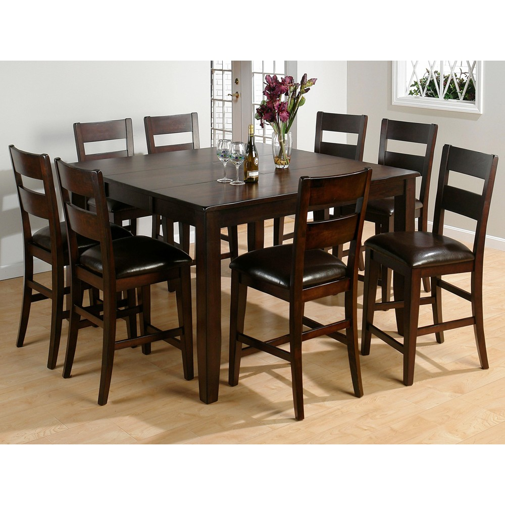 dark rustic prairie counter height butterfly leaf 9 piece dining set