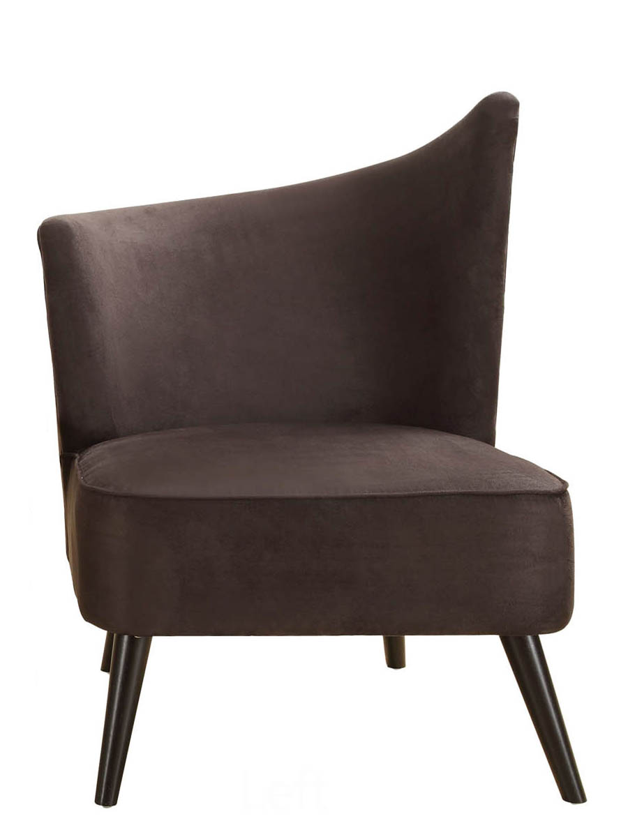 Elegant Accent Chair With Left Flared Back (Black Microfiber)    [LC2132MFBLLE]