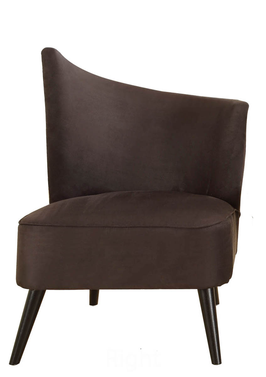 Elegant Accent Chair With Right Flared Back (Black Microfiber)    [LC2132MFBLRI]