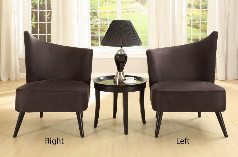 Etonnant Elegant Accent Chair With Right Flared Back (Black Microfiber)    [LC2132MFBLRI]