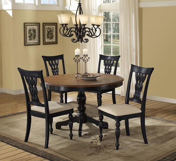 Embassy Round Pedestal Dining Table Rubbed Black Amp Cherry