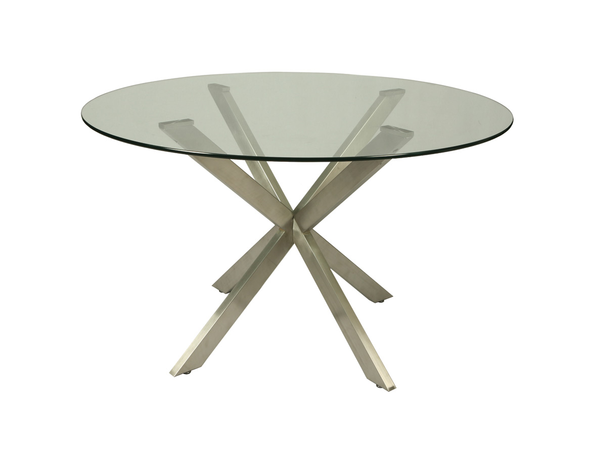 Eritrea Dining Table (Stainless Steel & Glass Finish) : Decor South