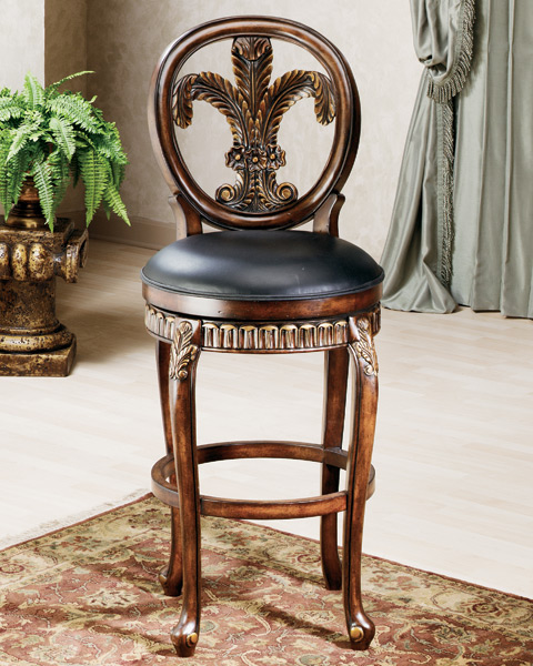 Fleur De Lis Triple Leaf Bar Stool Distressed Cherry