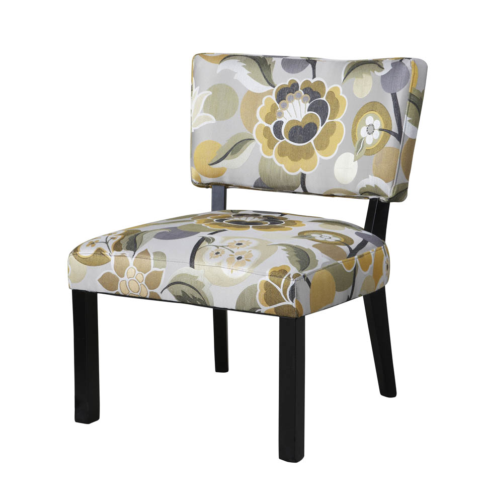 Floral Accent Chair Yellow Gray 383 631 Decor South