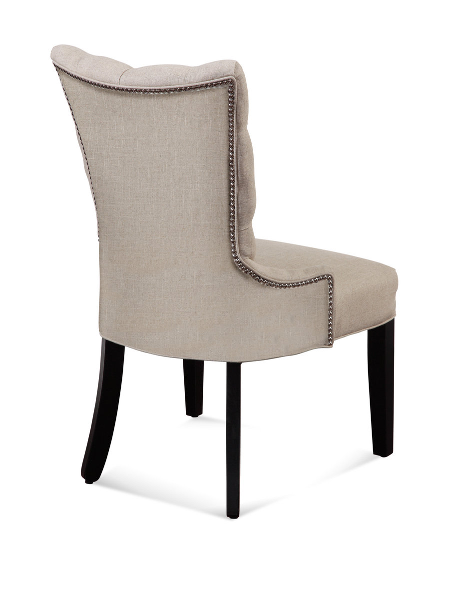 Superbe Fortnum Tufted Nailhead Parsons Chair (Natural Linen Finish)    [DPCH15 739AEC]