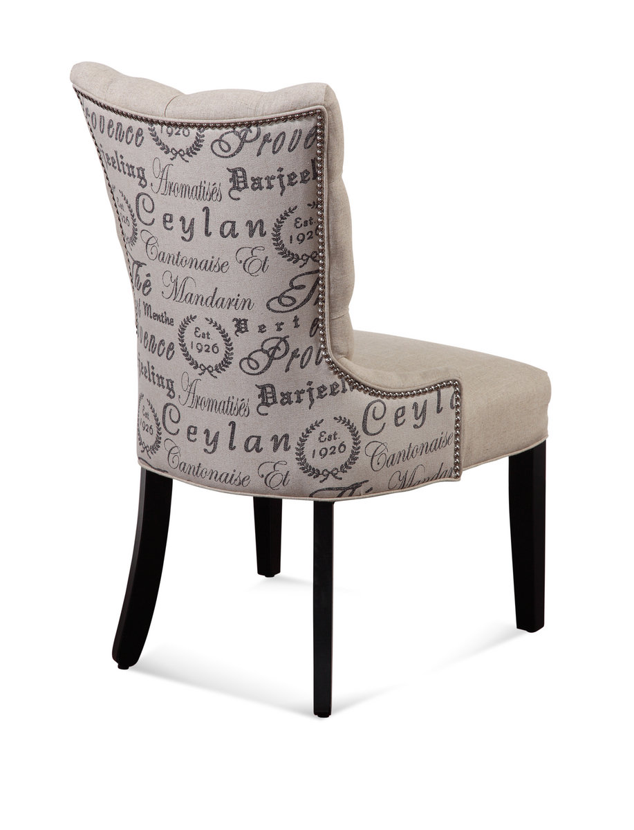 Fortnum Tufted Nailhead Parsons Chair Script Fabric