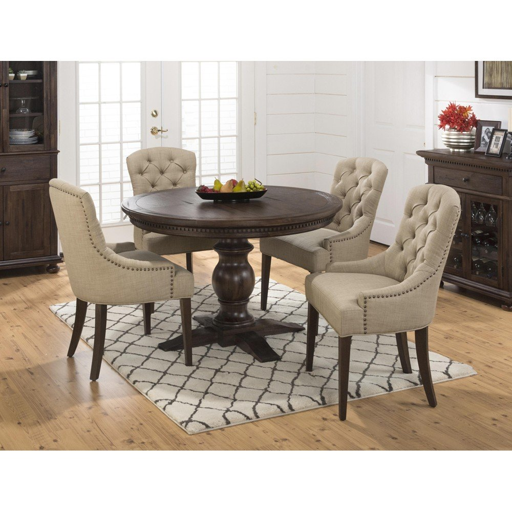 Geneva Hills Round to Oval 5 Piece Dining Set with  : geneva hills round to oval 5 piece dining set with upholstered side chairs 1 from www.decorsouth.com size 1000 x 1000 jpeg 153kB