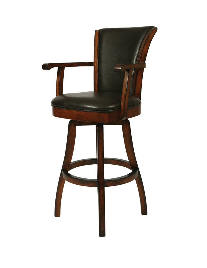 Glenwood Swivel Bar Stool with Arms Russet Cordovan