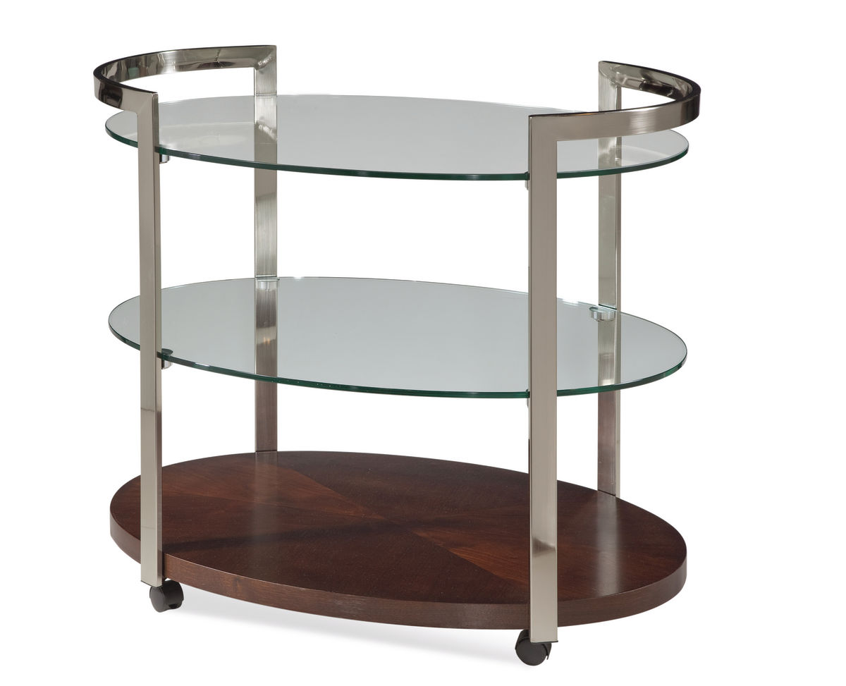 Gordon Tea Cart Glass With Silver Finish A2101