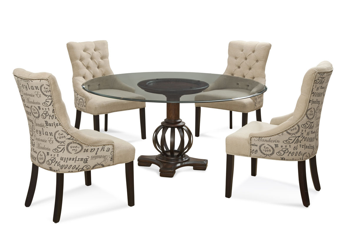 Grenadine Dining Set With Script Fabric Chairs Deep Brown Antique Bronze Finish D2719 000 Aab