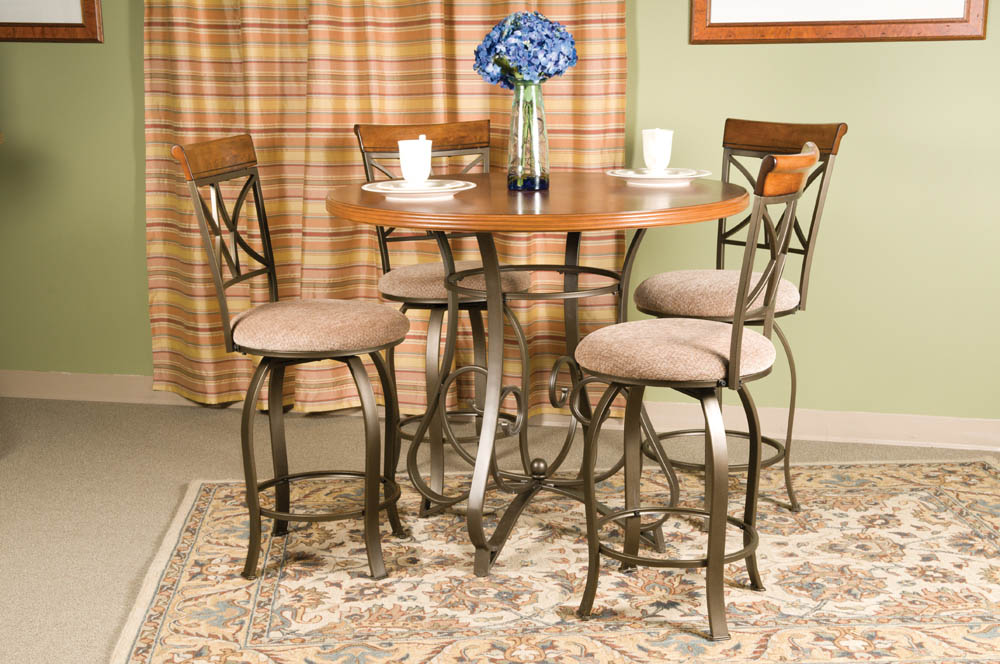 Hamilton Five Piece Counter Height Dining Set (Matte Pewter U0026 Bronze)    [697 441M1]