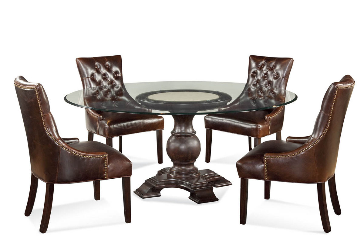 Hampton dining set with tufted brown leather chairs for Tufted leather dining room chairs