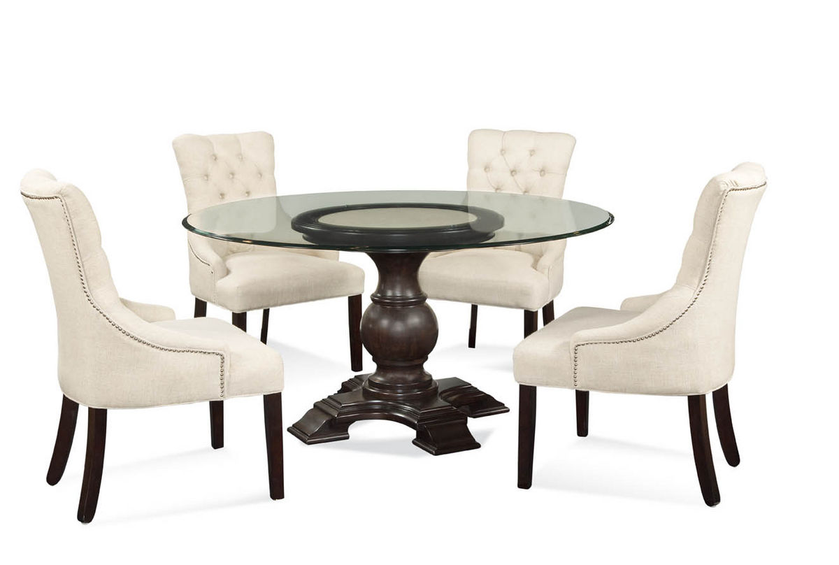 Hampton dining set with tufted natural linen chairs for Dining room sets with tufted chairs