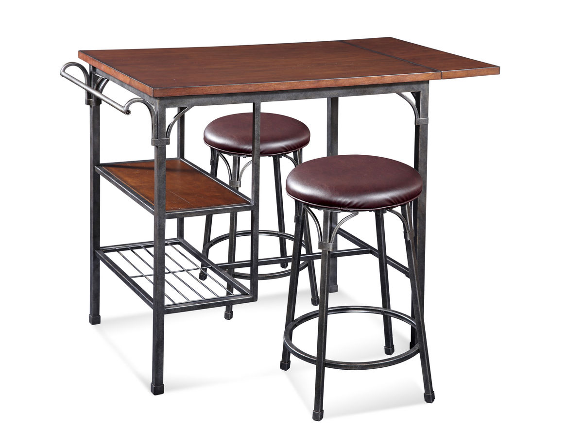 High Rise Bistro Table Set Dark Tobacco Amp Pewter Finish