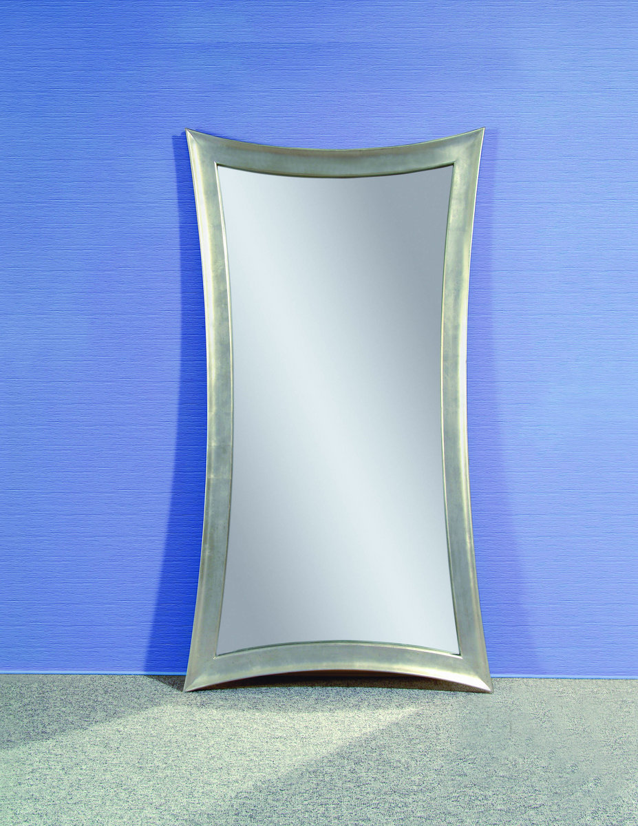 Hourglass shaped leaner mirror silver leaf finish for Leaner mirror