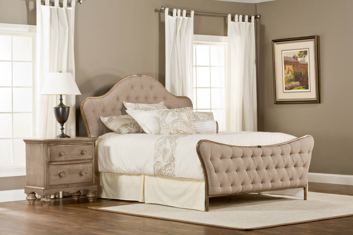 Jefferson Bed Antique Beige Fabric 1206BQR Decor South