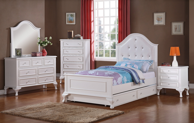 Jesse trundle bedroom set white finish js700tb decor south White twin trundle bedroom set
