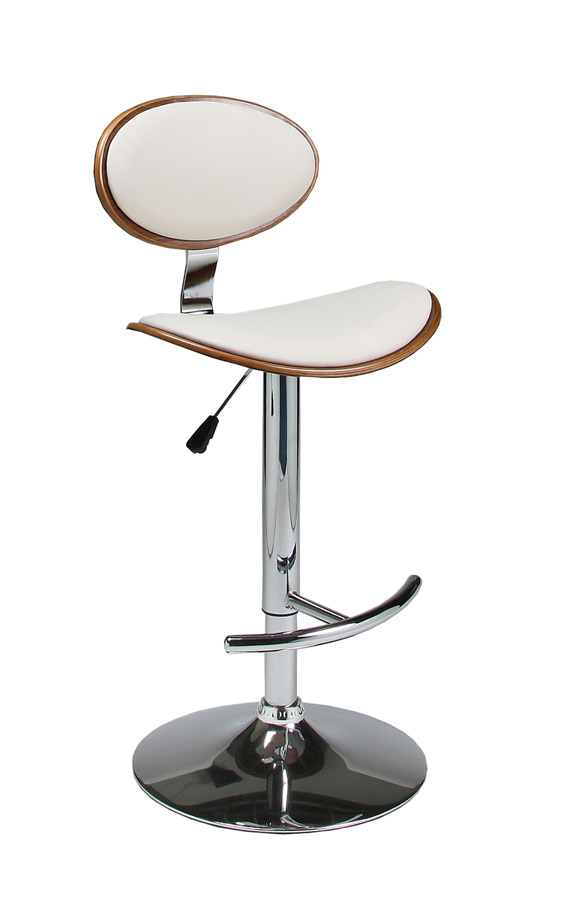 Joffrey Hydraulic Lift Bar Stool Chrome Ivory Amp Walnut