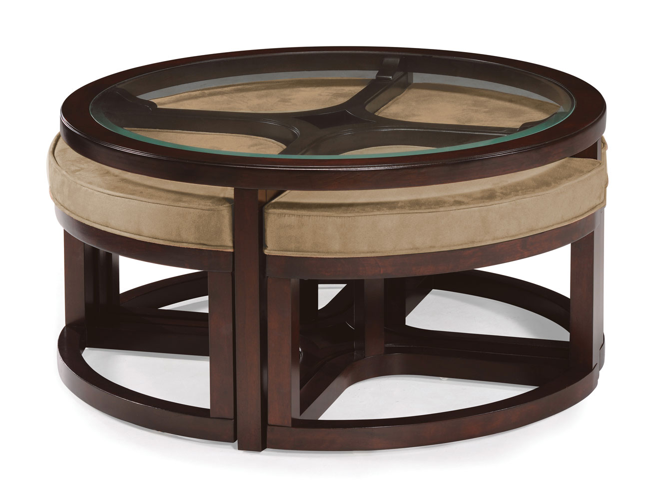 juniper round cocktail table with 4 stools (mink brown) - [t1020