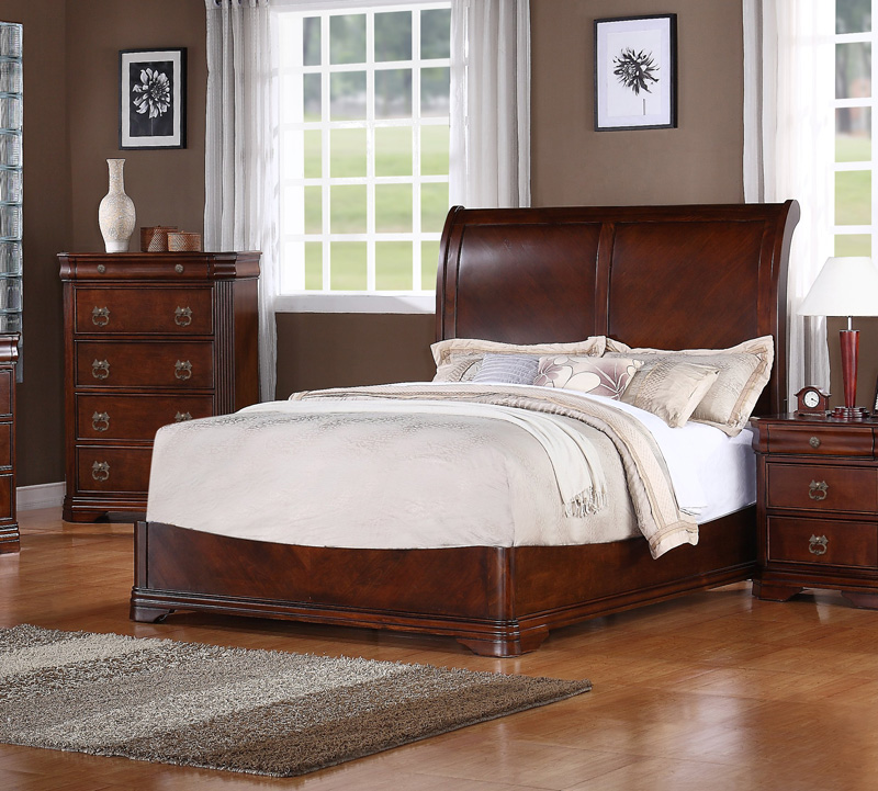 Spanish Bay Dark Cherry Wood 5Pc Bedroom Set W Eastern King BedHE