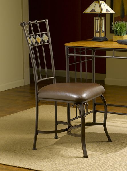 lakeview dining chair with slate back set of 2 brown finish