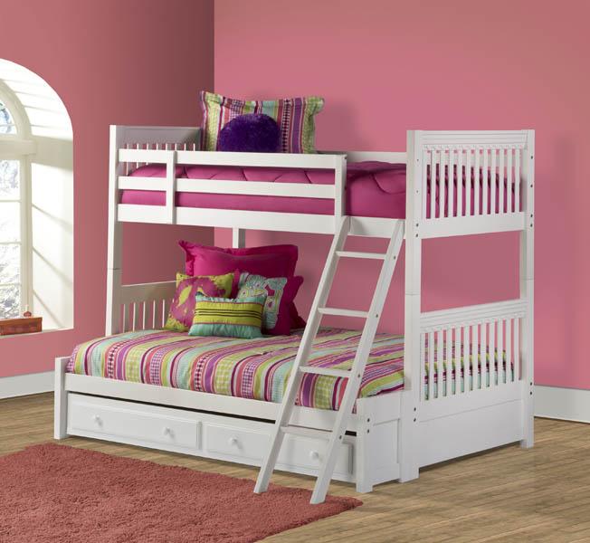 Lauren Twin Over Full Bunk Bed White Finish 1528bbf