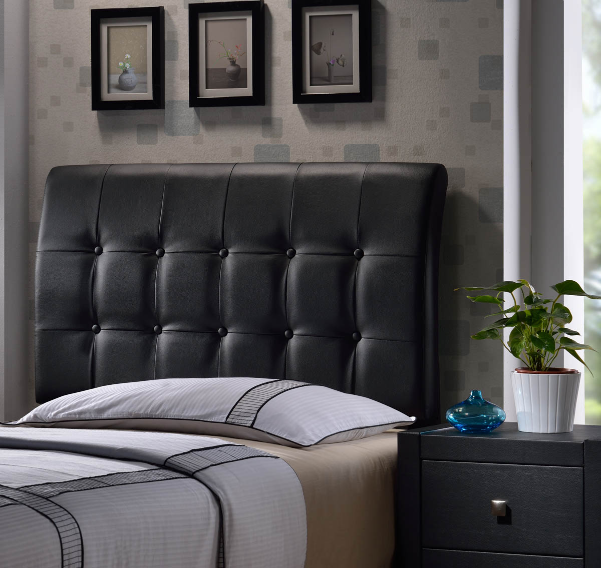 lusso headboard black faux leather 1281 370 decor south. Black Bedroom Furniture Sets. Home Design Ideas