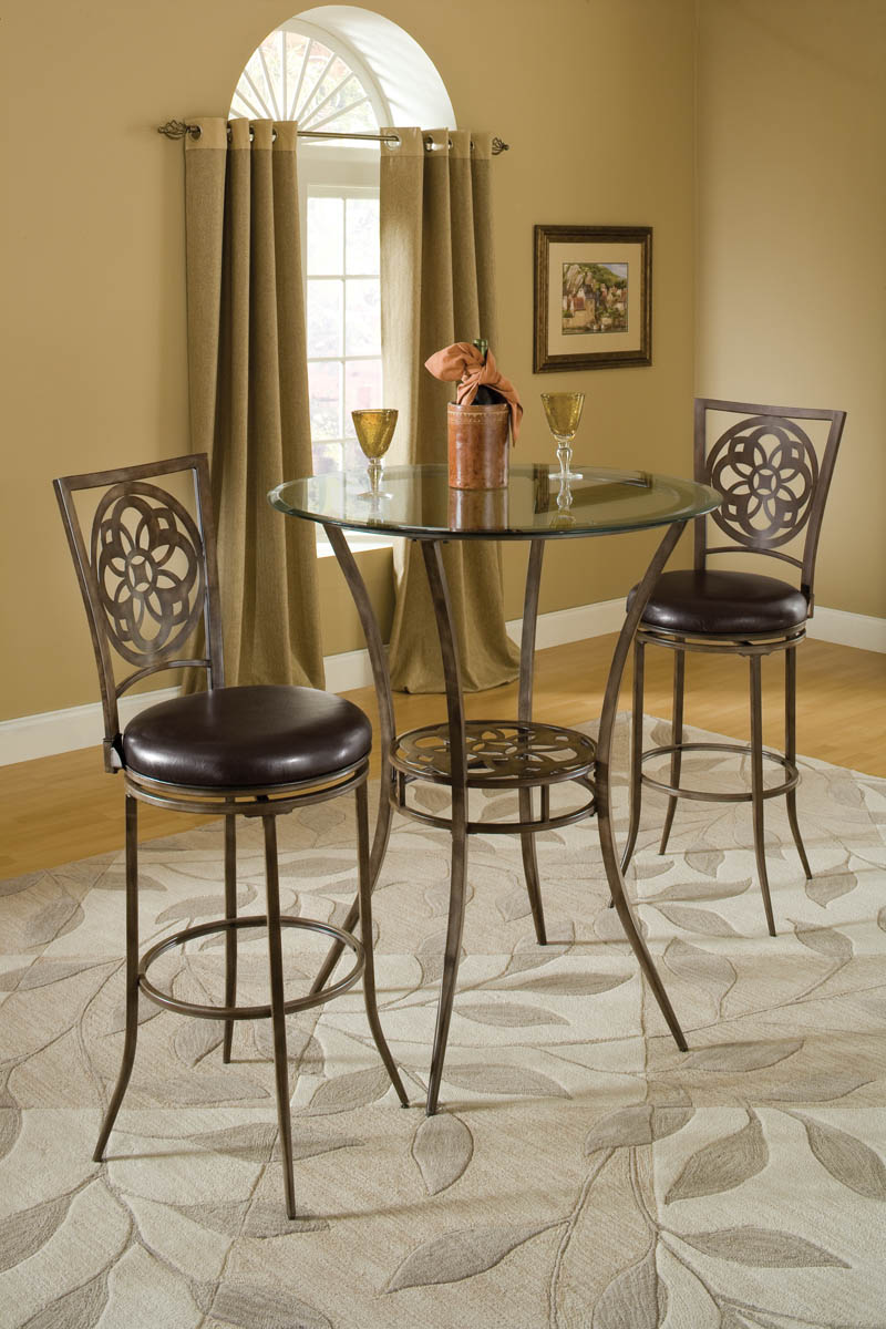 Marsala Bar Height Bistro Dining Three Piece Set (Gray u0026 Rust Highlights) - [5435PTBS] : dining table stools set - pezcame.com