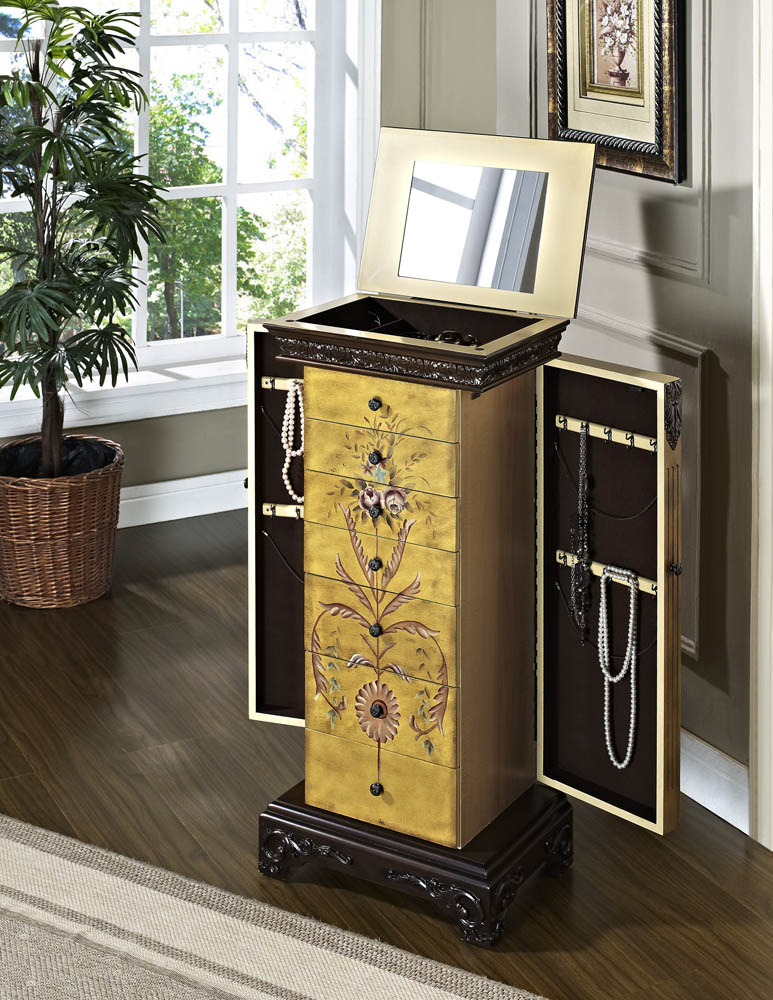 Masterpiece Jewelry Armoire Antique Parchment Hand