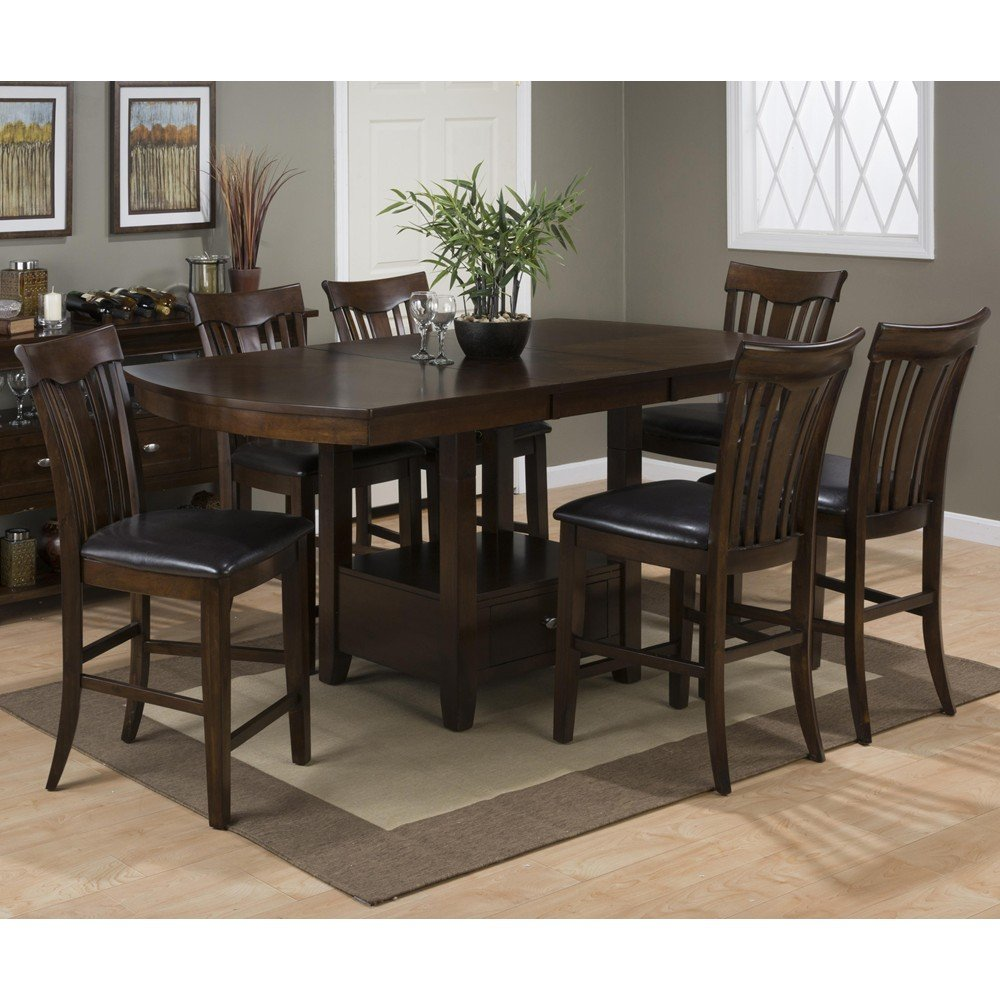 Mirandela birch counter height 7 piece dining set 836 for Decor 7 piece lunch set