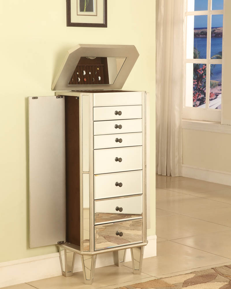 Mirrored Jewelry Armoire with Silver Wood (Mirrored ...