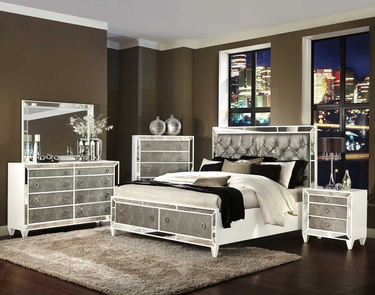 Monroe Storage Bedroom Set Pearlized White