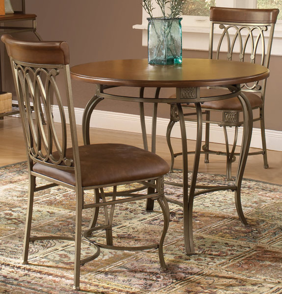Small Round Dining Table Set: Montello Small Round Dining Set (Old Steel Finish