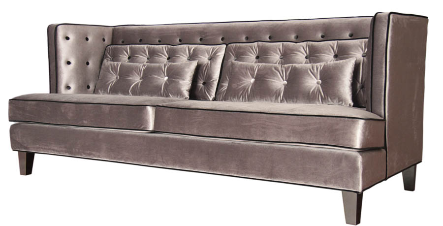 Perfect Moulin Sofa (Velvet Gray With Black Piping)   [LC21573GR]