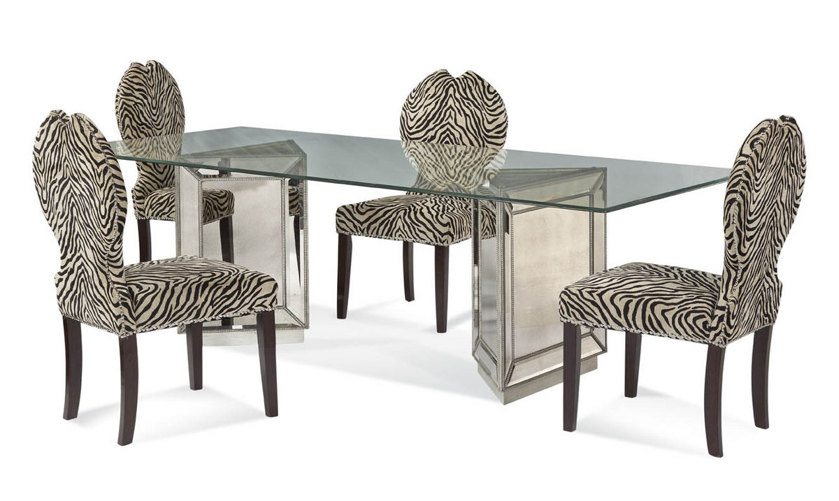 murano dining set with zebra print chairs mirror finish