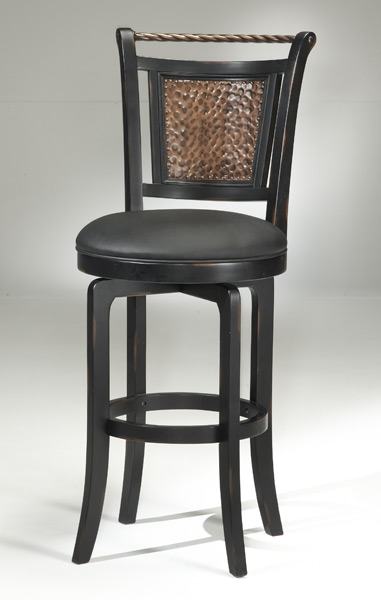 Norwood Copper Back Swivel Bar Stool Black And Copper