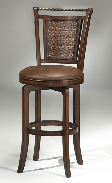 Norwood Copper Back Swivel Counter Stool Brown Cherry