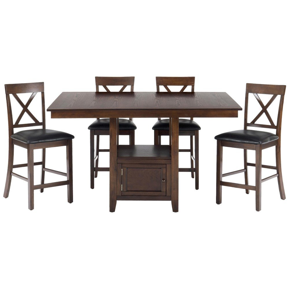 Olsen Oak Casual Counter Height Rectangle 5 Piece Dining Set - [439 ...