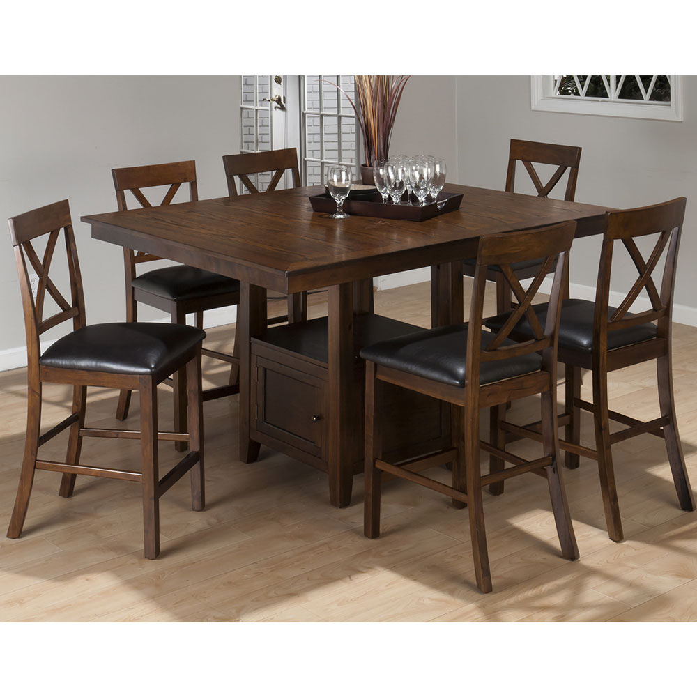 Olsen Oak Casual Counter Height Rectangle 7 Piece Dining