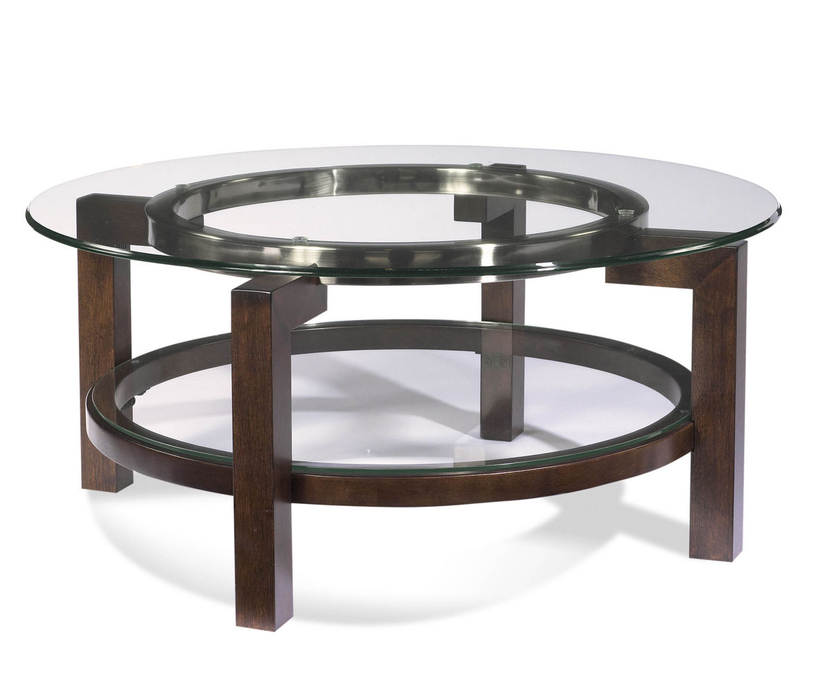 Oslo Round Cocktail Table Cappuccino Brushed Silver