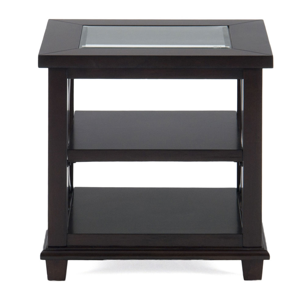 Panama Brown Contemporary Beveled Glass End Table   [966 3]