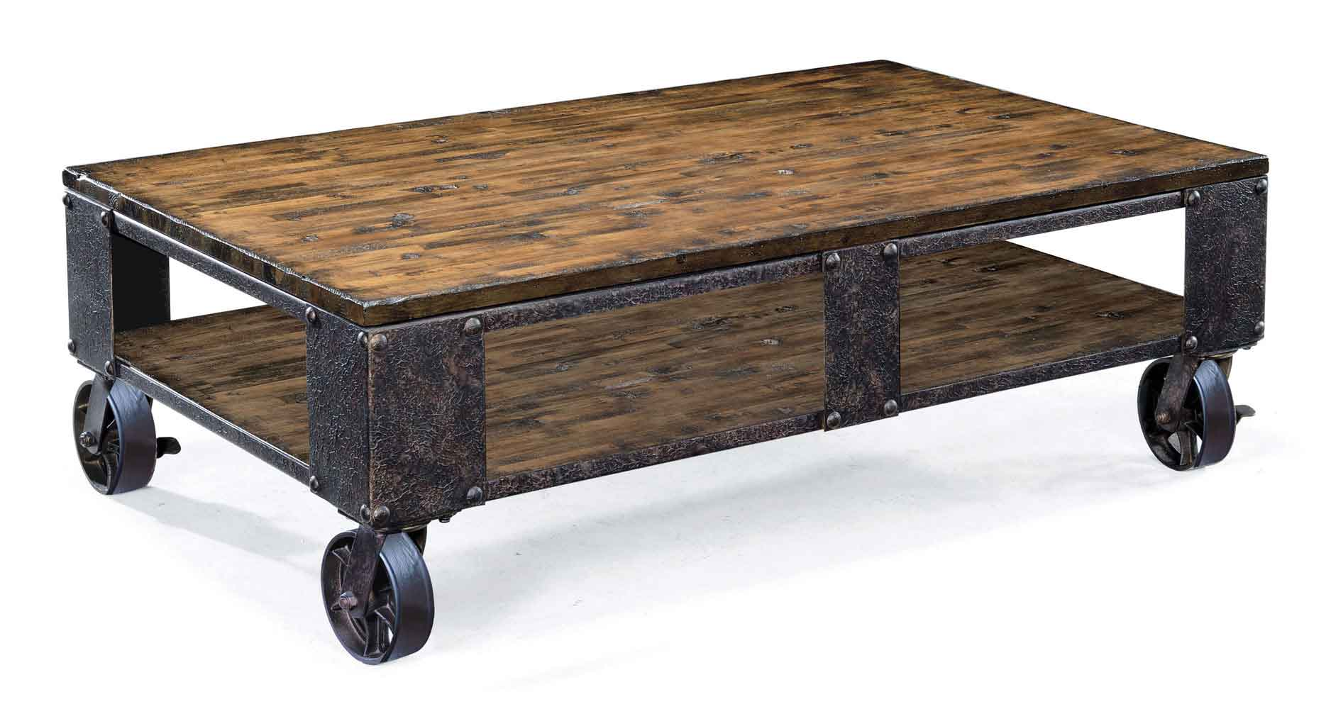 pinebrook rectangular cocktail table with casters