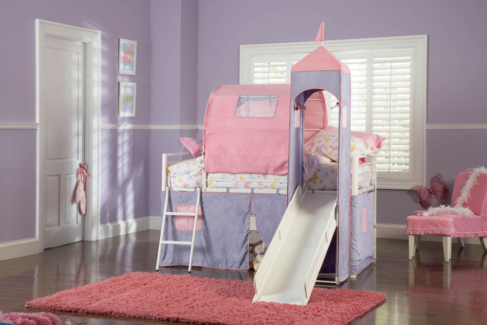 princess castle twin tent bunk bed with slide white purple pink 374 069 decor south. Black Bedroom Furniture Sets. Home Design Ideas