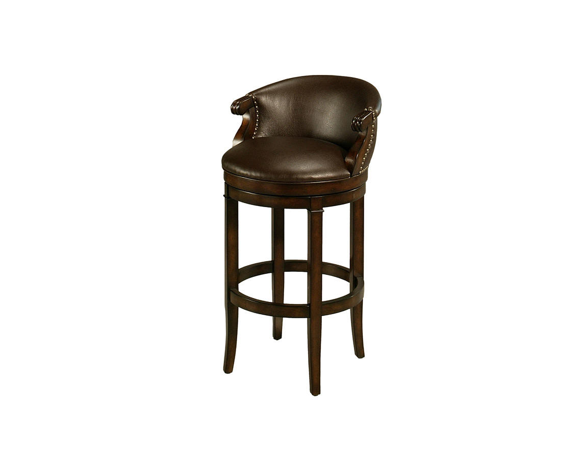 Princetown Swivel Counter Stool Distressed Cherry Leather Ridge Finish Pn 227 26 Dc 985