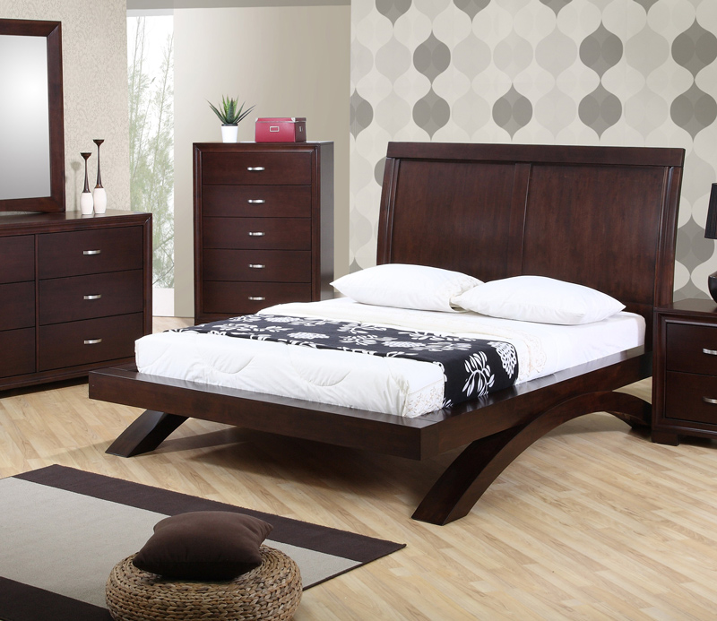 Merveilleux Raven Bedroom Set (Dark Cherry Finish)   [RV100QB]