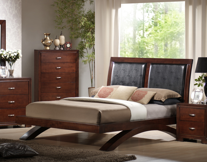Raven Bedroom Set (Faux Leather U0026 Dark Cherry Finish)   [RV222QB] ...