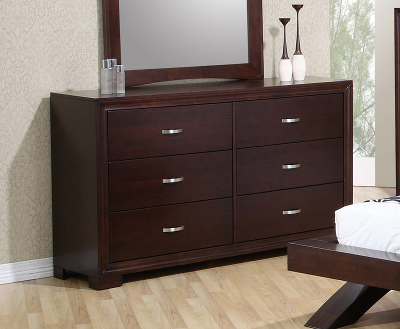 Raven Bedroom Set Faux Leather Dark Cherry Finish