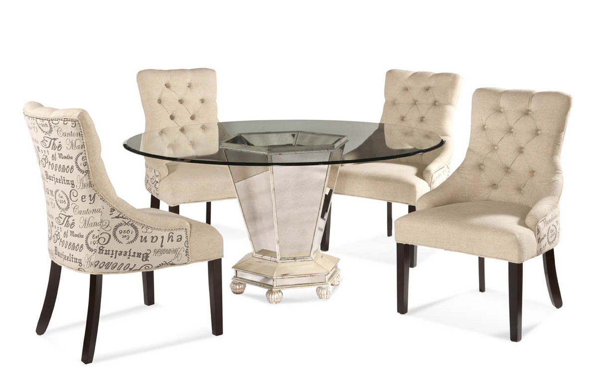 Reflections Dining Set With Script Fabric Chairs Antique